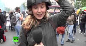 صفع مذيعة تلفزيونية في مظاهرة بباريس
