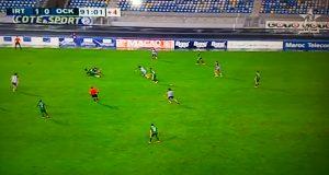 نهاية مباراة اتحاد طنجة أمام أولمبيك خريبكة بفوز الاتحاد بهدف واحد لصفر من توقيع بكر الهلالي في الدقيقة 86