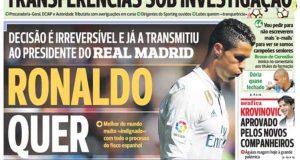 كبريات الصحف البرتغالية تعلن عن قرار رونالدو الرحيل عن ريال مدريد