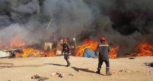 حريق مهول بسوق شعبي بمدينة سلا