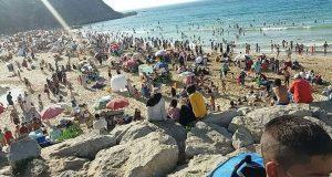 شاطئ مرقالة غرق في المياه العادمة يوم أمس الأحد
