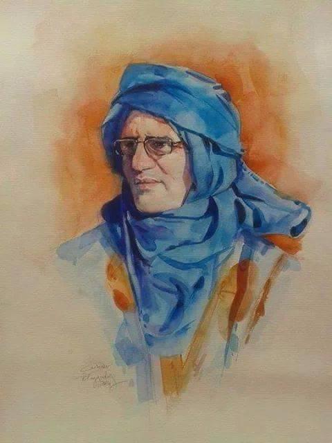 سعيد المجاهد بريشة الفنان عبد اللطيف العيادي